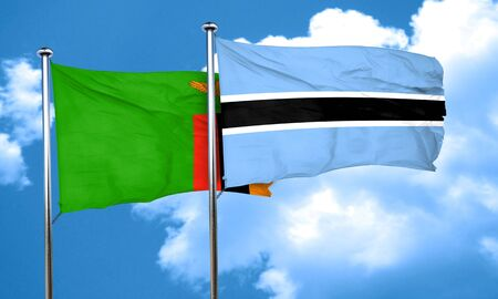 botswana: Zambia flag with Botswana flag, 3D rendering Stock Photo
