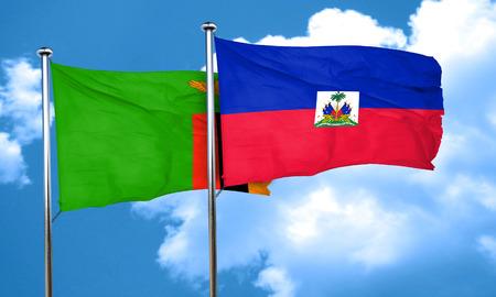 zambia flag: Zambia flag with Haiti flag, 3D rendering