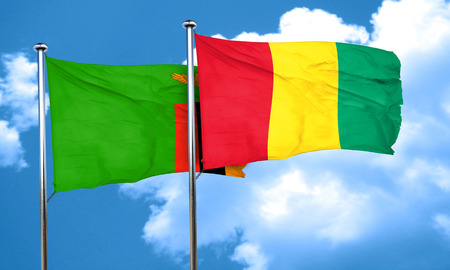 zambia flag: Zambia flag with Guinea flag, 3D rendering Stock Photo