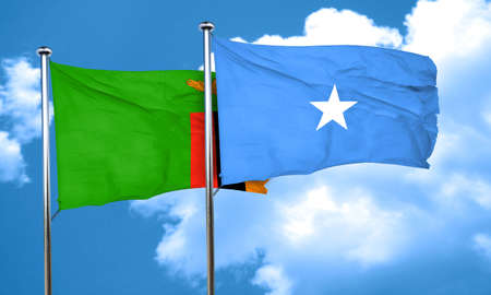 somalian culture: Zambia flag with Somalia flag, 3D rendering Stock Photo