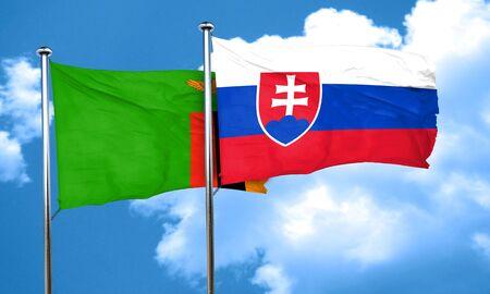 slovakia: Zambia flag with Slovakia flag, 3D rendering Stock Photo