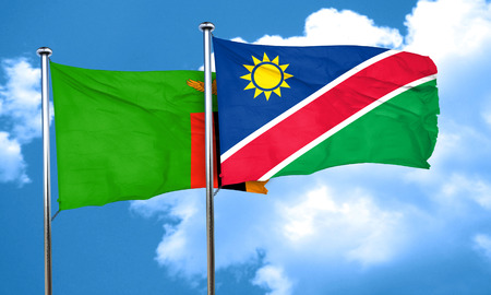 zambia flag: Zambia flag with Namibia flag, 3D rendering Stock Photo
