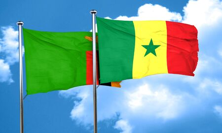 zambia flag: Zambia flag with Senegal flag, 3D rendering