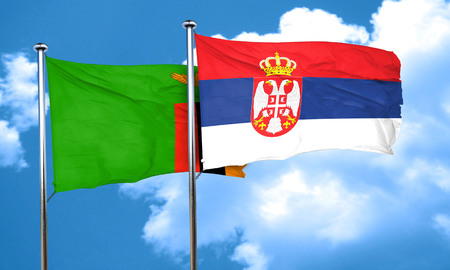 zambia flag: Zambia flag with Serbia flag, 3D rendering