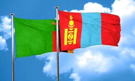 zambia flag: Zambia flag with Mongolia flag, 3D rendering Stock Photo