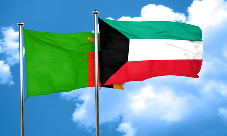 zambian flag: Zambia flag with Kuwait flag, 3D rendering