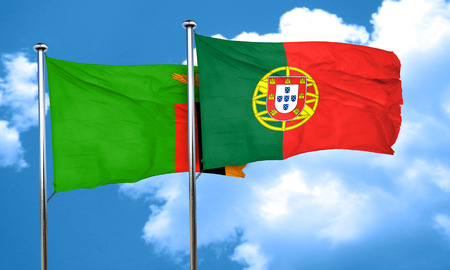 portugese: Zambia flag with Portugal flag, 3D rendering
