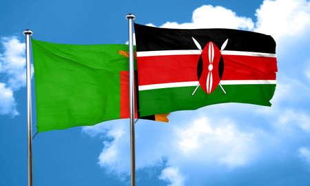 zambia: Zambia flag with Kenya flag, 3D rendering Stock Photo