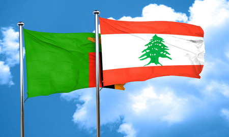 zambia: Zambia flag with Lebanon flag, 3D rendering