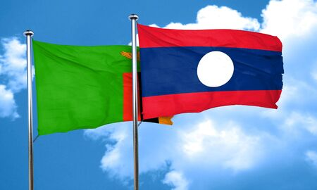 zambian flag: Zambia flag with Laos flag, 3D rendering