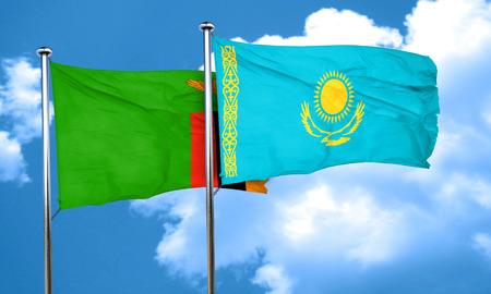 zambia flag: Zambia flag with Kazakhstan flag, 3D rendering Stock Photo