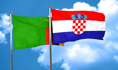 croatia flag: Zambia flag with Croatia flag, 3D rendering Stock Photo