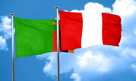 zambia flag: Zambia flag with Peru flag, 3D rendering