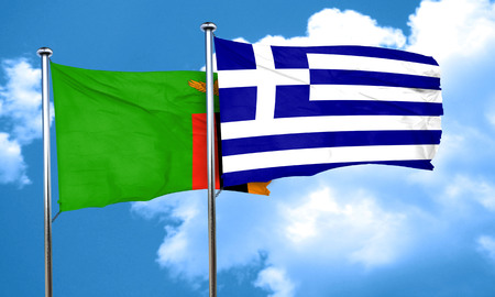 greece flag: Zambia flag with Greece flag, 3D rendering