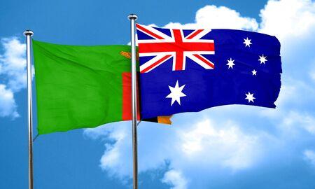 zambian flag: Zambia flag with Australia flag, 3D rendering Stock Photo