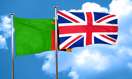 england politics: Zambia flag with Great Britain flag, 3D rendering