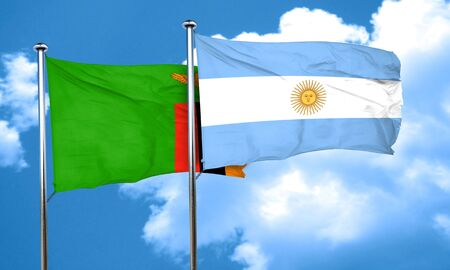 argentine: Zambia flag with Argentine flag, 3D rendering