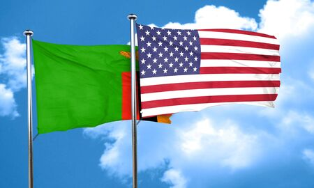 zambian flag: Zambia flag with American flag, 3D rendering