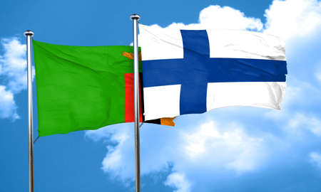 FINLAND flag: Zambia flag with Finland flag, 3D rendering Stock Photo