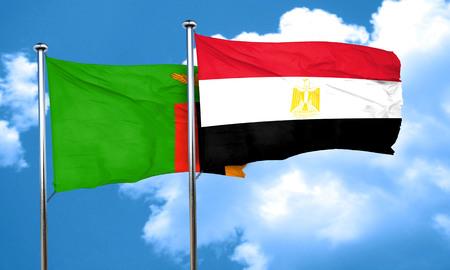 bandera egipto: Zambia flag with egypt flag, 3D rendering