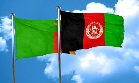 zambia: Zambia flag with afghanistan flag, 3D rendering Stock Photo