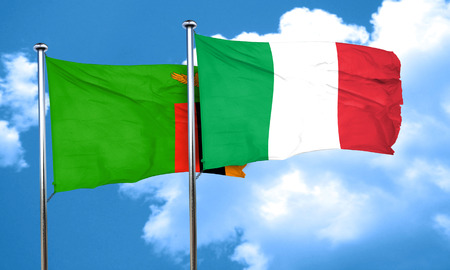 zambia flag: Zambia flag with Italy flag, 3D rendering