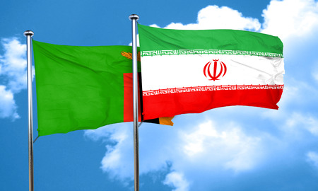 iran: Zambia flag with Iran flag, 3D rendering