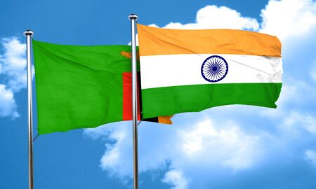 zambia flag: Zambia flag with India flag, 3D rendering Stock Photo