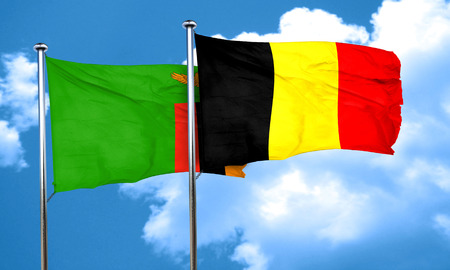zambian flag: Zambia flag with Belgium flag, 3D rendering