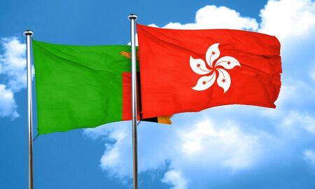 zambian: Zambia flag with Hong Kong flag, 3D rendering