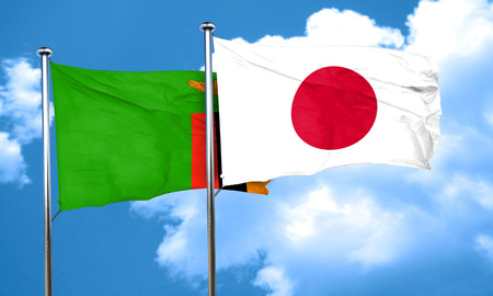 zambia: Zambia flag with Japan flag, 3D rendering Stock Photo