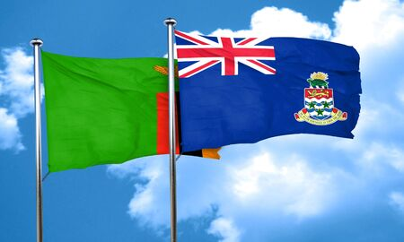 cayman: Zambia flag with Cayman islands flag, 3D rendering Stock Photo