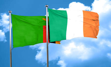zambian flag: Zambia flag with Ireland flag, 3D rendering