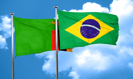 zambian flag: Zambia flag with Brazil flag, 3D rendering