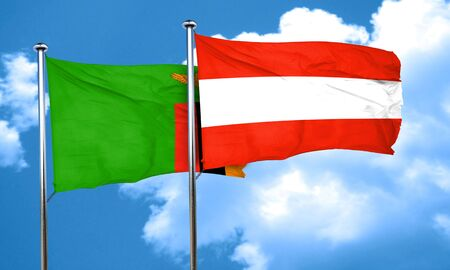 austria flag: Zambia flag with Austria flag, 3D rendering