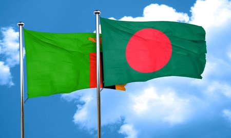 zambian: Zambia flag with Bangladesh flag, 3D rendering Stock Photo