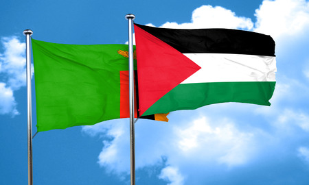 palestine: Zambia flag with Palestine flag, 3D rendering Stock Photo