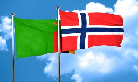 norway flag: Zambia flag with Norway flag, 3D rendering