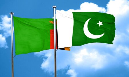 zambia: Zambia flag with Pakistan flag, 3D rendering