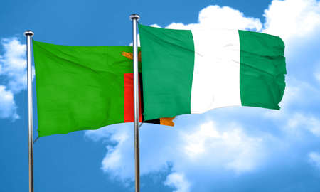 nigeria: Zambia flag with Nigeria flag, 3D rendering