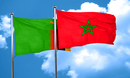 zambia flag: Zambia flag with Morocco flag, 3D rendering Stock Photo