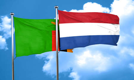 netherlands flag: Zambia flag with Netherlands flag, 3D rendering