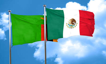 zambia flag: Zambia flag with Mexico flag, 3D rendering