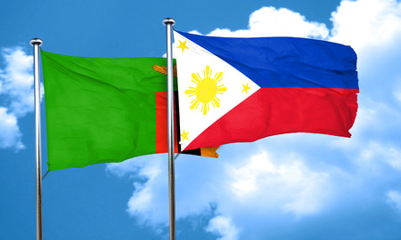 philippino: Zambia flag with Philippines flag, 3D rendering Stock Photo