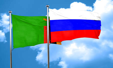 russia flag: Zambia flag with Russia flag, 3D rendering Stock Photo