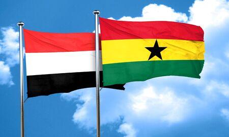 ghanese: Yemen flag with Ghana flag, 3D rendering Stock Photo