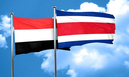rican: Yemen flag with Costa Rica flag, 3D rendering