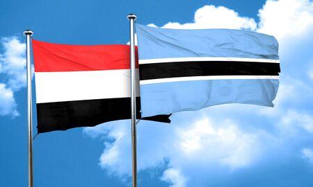 yemen: Yemen flag with Botswana flag, 3D rendering