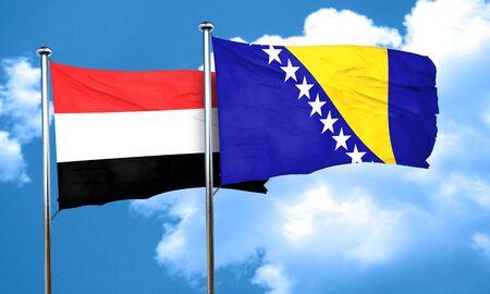 bosnia and herzegovina flag: Yemen flag with Bosnia and Herzegovina flag, 3D rendering