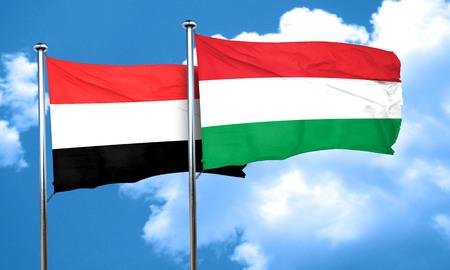 yemen: Yemen flag with Hungary flag, 3D rendering
